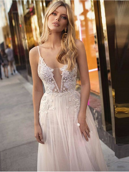A-Line Wedding Dresses V Neck Court Train Lace Tulle Spaghetti Strap Beach Boho See-Through Backless_3