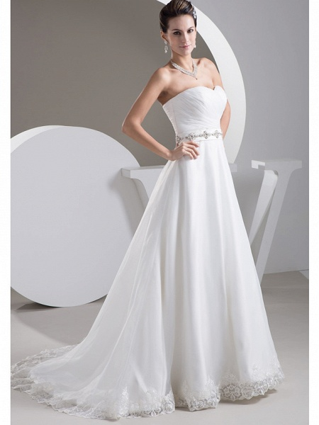 A-Line Sweetheart Neckline Court Train Lace Satin Tulle Strapless Wedding Dresses_2