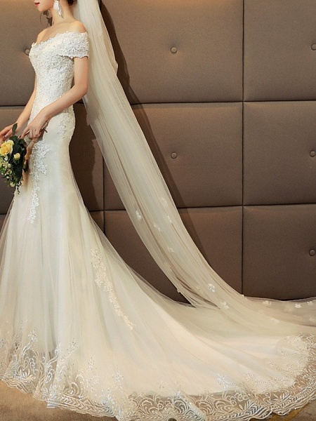 Mermaid \ Trumpet Wedding Dresses Off Shoulder Sweep \ Brush Train Tulle Sequined Cap Sleeve Romantic Sexy Illusion Detail_3