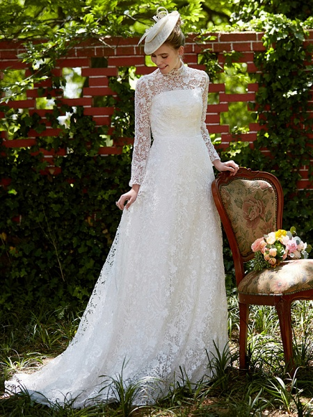 A-Line Wedding Dresses Illusion Neck Court Train All Over Lace Long Sleeve Floral Lace_8