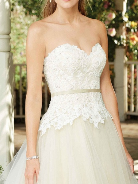 A-Line Wedding Dresses Sweetheart Neckline Court Train Tulle Sleeveless Country Wedding Dress in Color_3