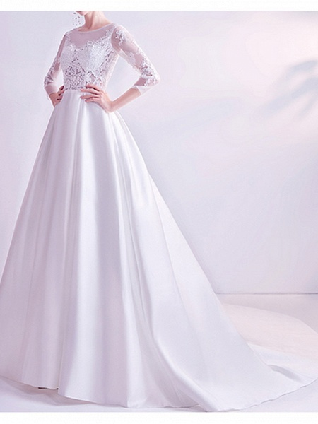 A-Line Wedding Dresses Jewel Neck Court Train Chiffon Tulle 3\4 Length Sleeve Formal Plus Size Illusion Sleeve_2