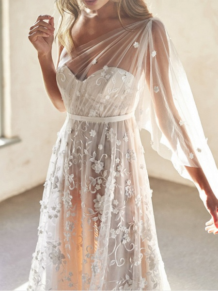 A-Line Wedding Dresses Sweetheart Neckline Court Train Lace Sleeveless Sexy Wedding Dress in Color See-Through_2