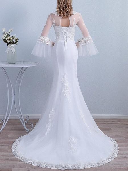 Mermaid \ Trumpet Wedding Dresses Jewel Neck Sweep \ Brush Train Lace Long Sleeve Beach Illusion Sleeve_3