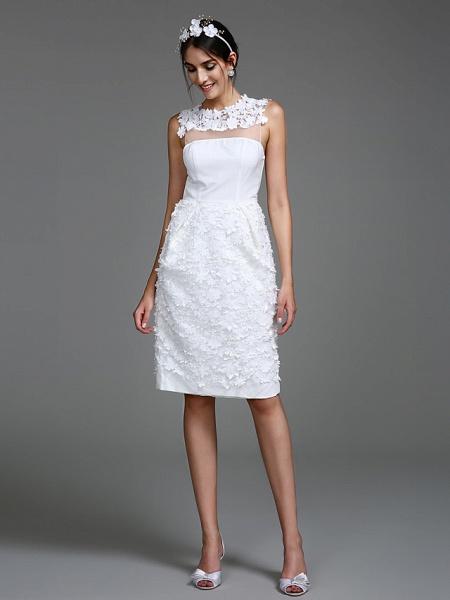 Sheath \ Column Wedding Dresses Jewel Neck Short \ Mini Chiffon Regular Straps Romantic Casual See-Through Plus Size Backless_3