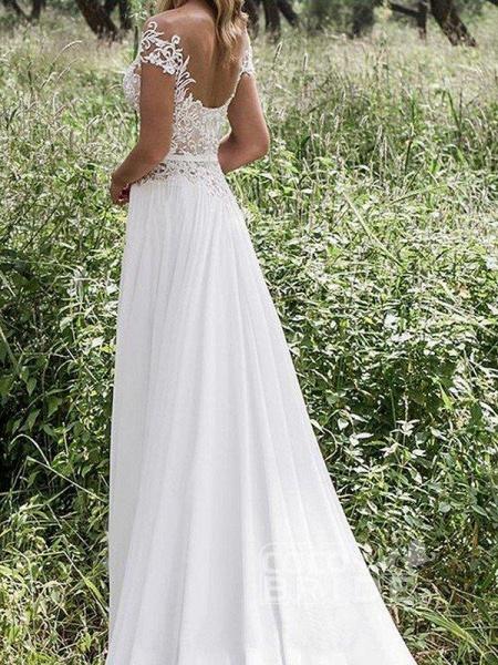 Sleeveless V-neck Lace Chiffon A-Line Side Split Floor-Length Wedding Dresses_2