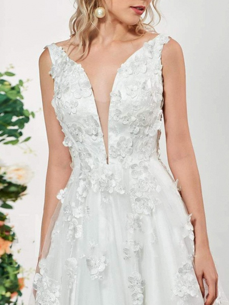 A-Line V Neck Sweep \ Brush Train Lace Tulle Sleeveless Sexy Backless Wedding Dresses_4