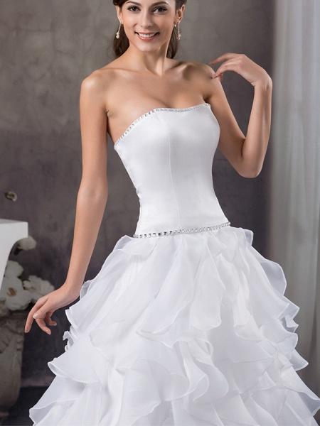 A-Line Strapless Court Train Organza Satin Strapless Wedding Dresses_4