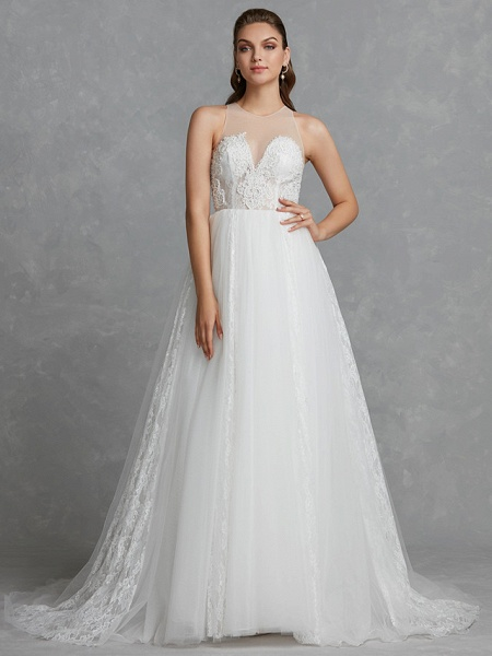 A-Line Wedding Dresses Jewel Neck Court Train Lace Tulle Regular Straps Glamorous See-Through Backless_6