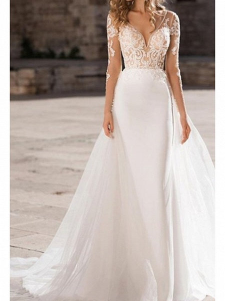 A-Line Wedding Dresses V Neck Court Train Organza Tulle Stretch Satin Long Sleeve Illusion Sleeve_1