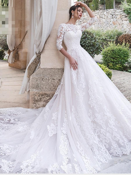 A-Line Off Shoulder Court Train Lace 3\4 Length Sleeve Country Illusion Sleeve Wedding Dresses_1