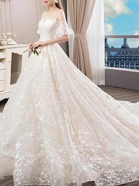A-Line Bateau Neck Court Train Polyester Short Sleeve Illusion Sleeve Wedding Dresses_2