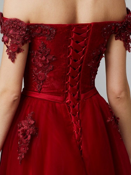 A-Line Floral Pink Prom Formal Evening Dress Off Shoulder Sleeveless Sweep \ Brush Train Tulle Over Lace_17