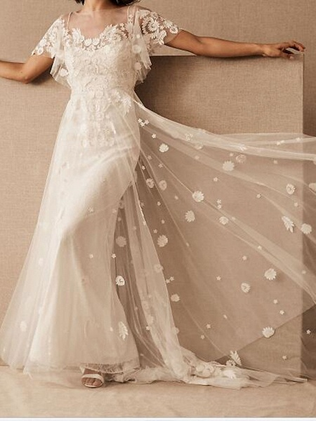 A-Line Wedding Dresses Scoop Neck Floor Length Tulle Short Sleeve Country Plus Size_1