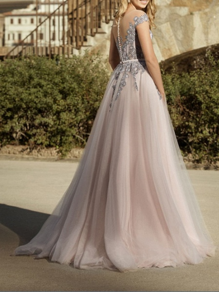 A-Line Wedding Dresses Jewel Neck Sweep \ Brush Train Lace Tulle Short Sleeve Country Plus Size_3