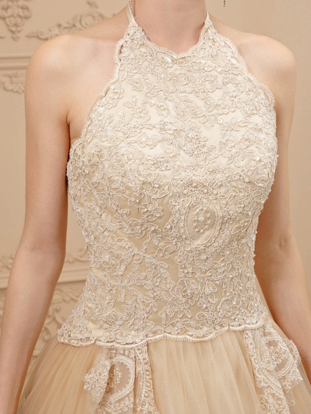 Ball Gown Halter Neck Chapel Train Lace Tulle Spaghetti Strap Glamorous Illusion Detail Wedding Dresses_6