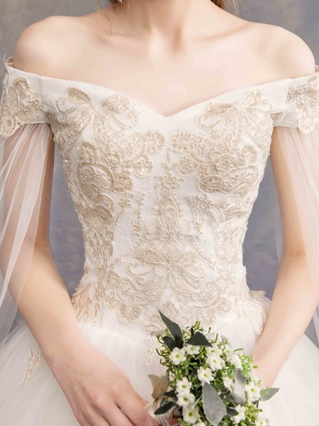 Ball Gown Wedding Dresses Off Shoulder Maxi Tulle Lace Over Satin Short Sleeve Glamorous Illusion Detail_3