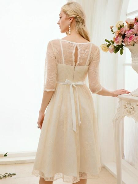 A-Line Wedding Dresses Bateau Neck Knee Length Lace Charmeuse 3\4 Length Sleeve See-Through_9