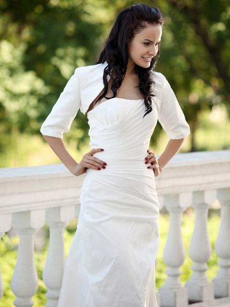 Mermaid \ Trumpet Wedding Dresses Strapless Court Train Taffeta Short Sleeve_9
