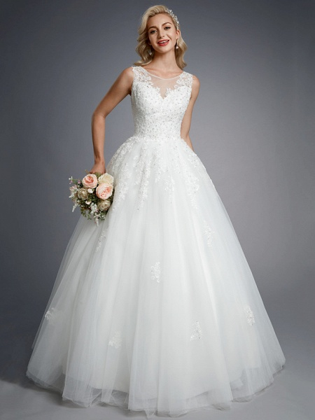 Ball Gown Wedding Dresses Jewel Neck Floor Length Lace Tulle Regular Straps Formal Casual Illusion Detail Backless_4