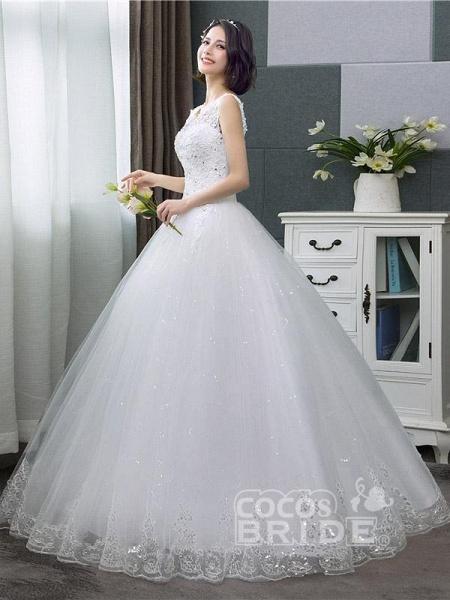 V-Neck Lace Tank Sleeveless Floral Print Ball Gown Wedding Dress_3
