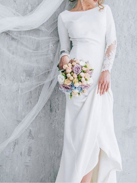 A-Line Wedding Dresses Jewel Neck Court Train Polyester Long Sleeve Formal Plus Size_1