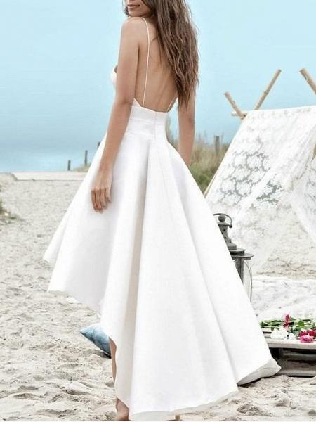 A-Line Wedding Dresses V Neck Spaghetti Strap Asymmetrical Satin Sleeveless Simple Little White Dress 1950s_2