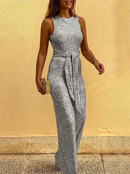 Women's Black Gold Silver Jumpsuit