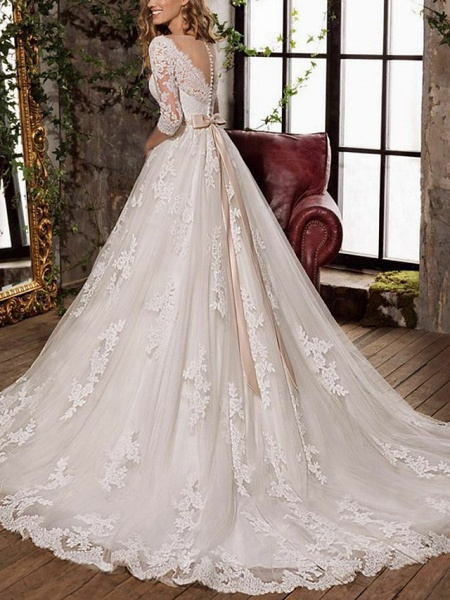 A-Line Wedding Dresses V Neck Sweep \ Brush Train Tulle 3\4 Length Sleeve Formal Plus Size Illusion Sleeve_2