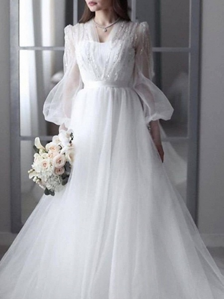 A-Line Wedding Dresses V Neck Sweep \ Brush Train Lace Tulle 3\4 Length Sleeve Sexy See-Through Backless_1
