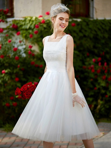 A-Line Wedding Dresses Square Neck Knee Length Lace Tulle Regular Straps Simple Casual Vintage Plus Size Cute_7
