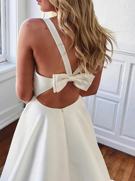 A-Line Wedding Dresses Plunging Neck Sweep \ Brush Train Stretch Satin Sleeveless Sexy Plus Size_2