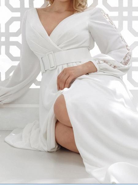 A-Line Wedding Dresses V Neck Floor Length Stretch Satin Long Sleeve Country Plus Size_4
