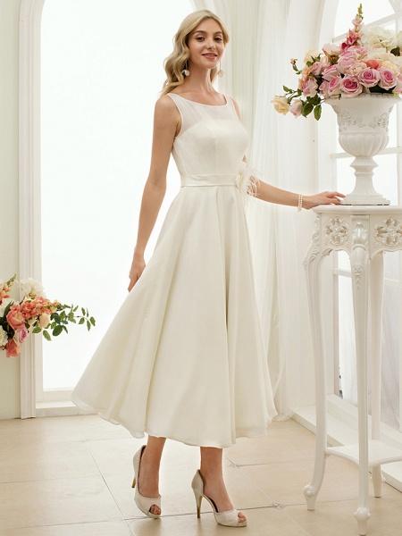 A-Line Wedding Dresses Bateau Neck Tea Length Chiffon Regular Straps Vintage Little White Dress 1950s_5