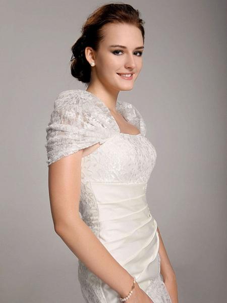 Mermaid \ Trumpet Wedding Dresses Straps Floor Length Lace Short Sleeve See-Through_4