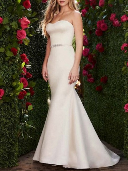 Mermaid \ Trumpet Wedding Dresses Sweetheart Neckline Sweep \ Brush Train Satin Strapless Plus Size_1