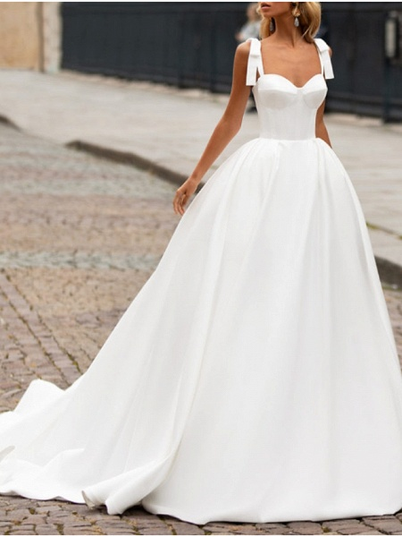 A-Line Wedding Dresses Sweetheart Neckline Sweep \ Brush Train Satin Spaghetti Strap Plus Size_1