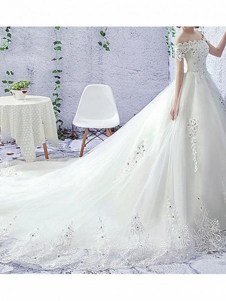 A-Line Wedding Dresses Off Shoulder Sweep \ Brush Train Lace Short Sleeve Beach Illusion Sleeve_1