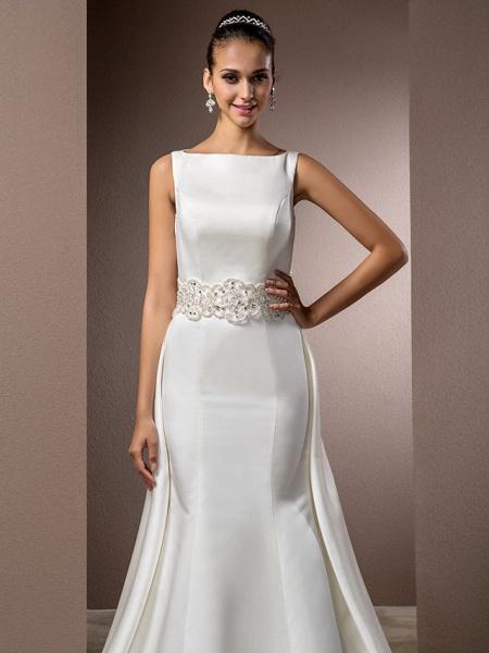 Mermaid \ Trumpet Wedding Dresses Bateau Neck Cathedral Train Satin Regular Straps Vintage Inspired_5