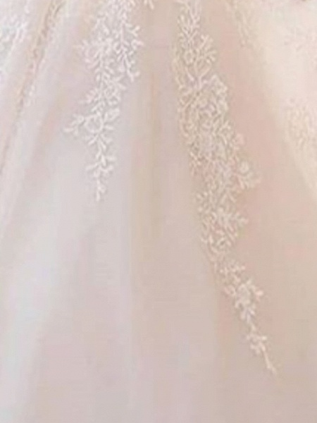 A-Line Wedding Dresses Bateau Neck V Neck Court Train Lace Tulle Long Sleeve Illusion Sleeve_2