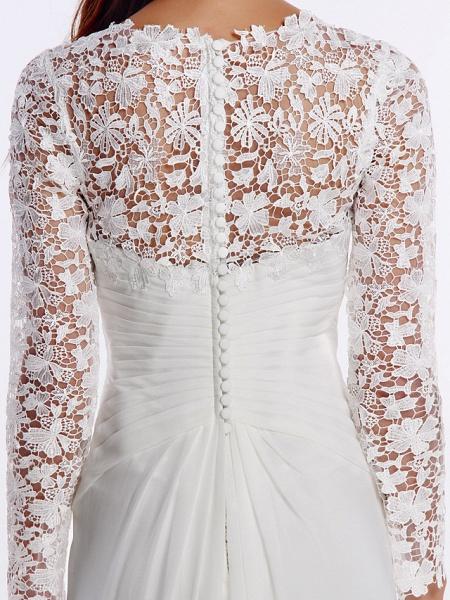 Sheath \ Column Wedding Dresses V Neck Sweep \ Brush Train Chiffon Floral Lace Long Sleeve Romantic Boho Little White Dress Illusion Sleeve_9