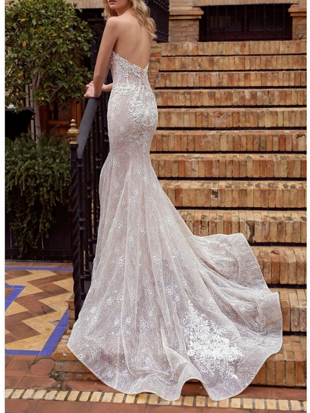 Mermaid \ Trumpet Wedding Dresses Strapless Court Train Lace Strapless_2