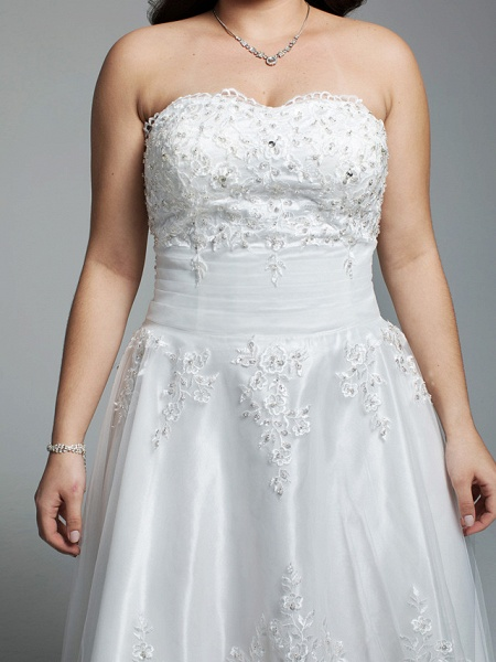 A-Line Wedding Dresses Strapless Asymmetrical Lace Tulle Strapless Little White Dress Open Back_6