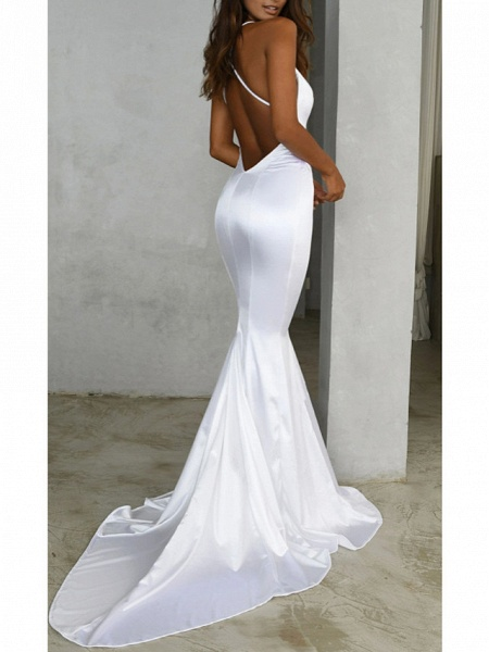 Mermaid \ Trumpet Wedding Dresses V Neck Sweep \ Brush Train Satin Spaghetti Strap Simple Sexy Backless_2