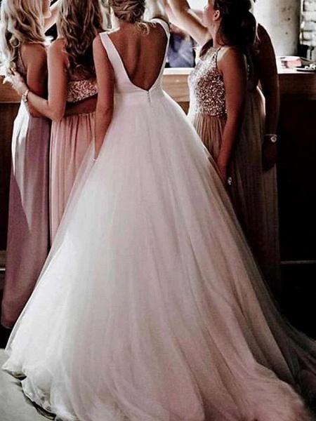 A-Line Wedding Dresses Bateau Neck Sweep \ Brush Train Tulle Regular Straps Romantic Plus Size_3