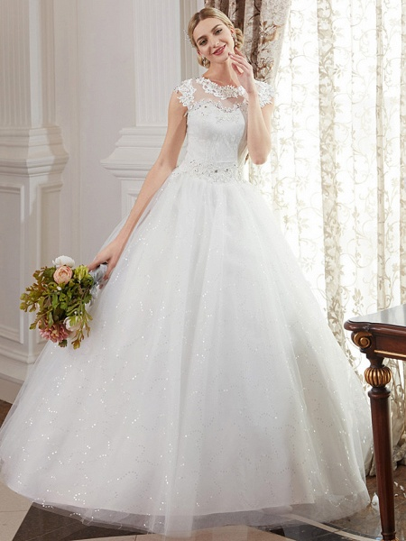 Ball Gown Wedding Dresses Jewel Neck Floor Length Lace Over Tulle Cap Sleeve Romantic Illusion Detail_1