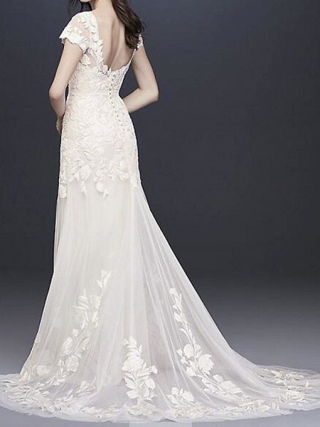 A-Line Wedding Dresses Jewel Neck Floor Length Polyester Short Sleeve Country Plus Size_2
