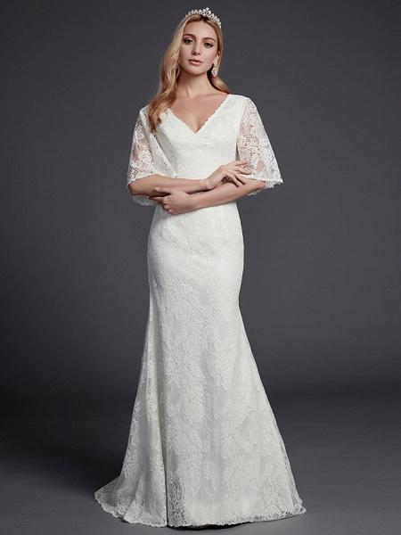 Mermaid \ Trumpet Wedding Dresses V Neck Sweep \ Brush Train Lace Half Sleeve Beautiful Back_4