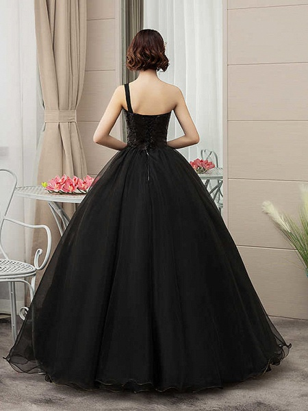 Ball Gown Wedding Dresses One Shoulder Floor Length Tulle Sequined Spaghetti Strap Black_3