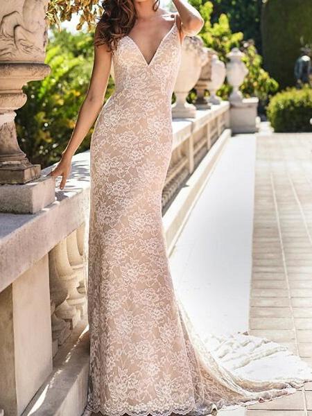 Mermaid \ Trumpet Wedding Dresses Spaghetti Strap Sweep \ Brush Train Chiffon Lace Sleeveless Country Plus Size_3